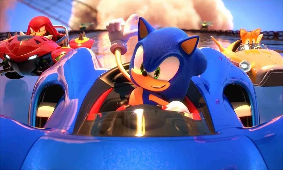 Team Sonic Racing segue fórmula de All-Stars Racing, mas com foco na cooperação em trio — Foto: Divulgação/SEGA