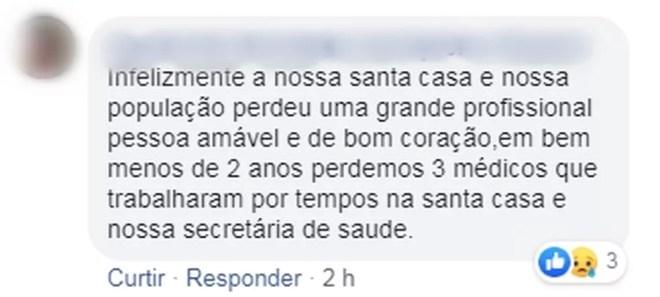 Homem faz homenagem à médica morta em capotamento em Populina  — Foto: Reprodução/Facebook