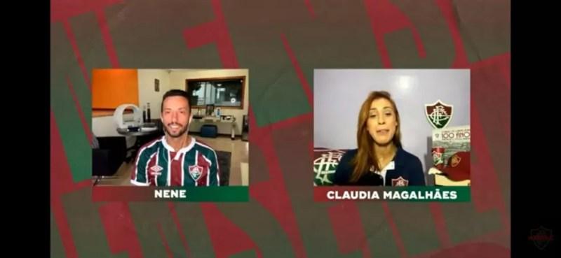 Nenê participa de live do Fluminense na FluTV — Foto: Reprodução