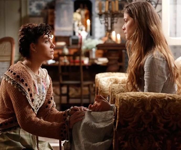 Anita garante à amiga que o Conde e Melissa ainda estão juntos (Foto: Fábio Rocha/Gshow)