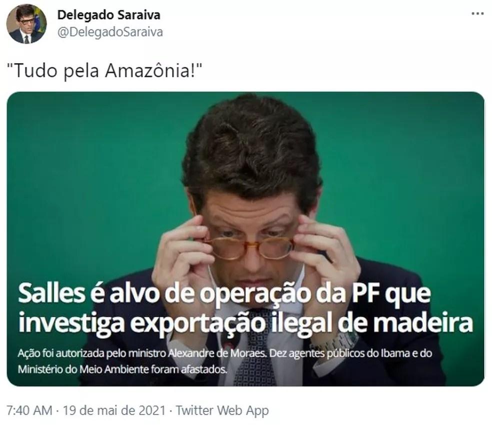Alexandre Saraiva, delegado da Polícia Federal, faz publicação sobre operação da PF que mira o ministro Ricardo Salles, do Meio Ambiente — Foto: Reprodução/Redes Sociais