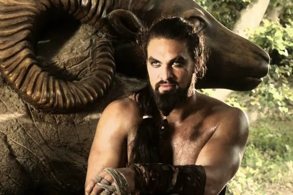 Actor Jason Momoa in the role of his character in Game of Thrones (Photo: Reproduction)