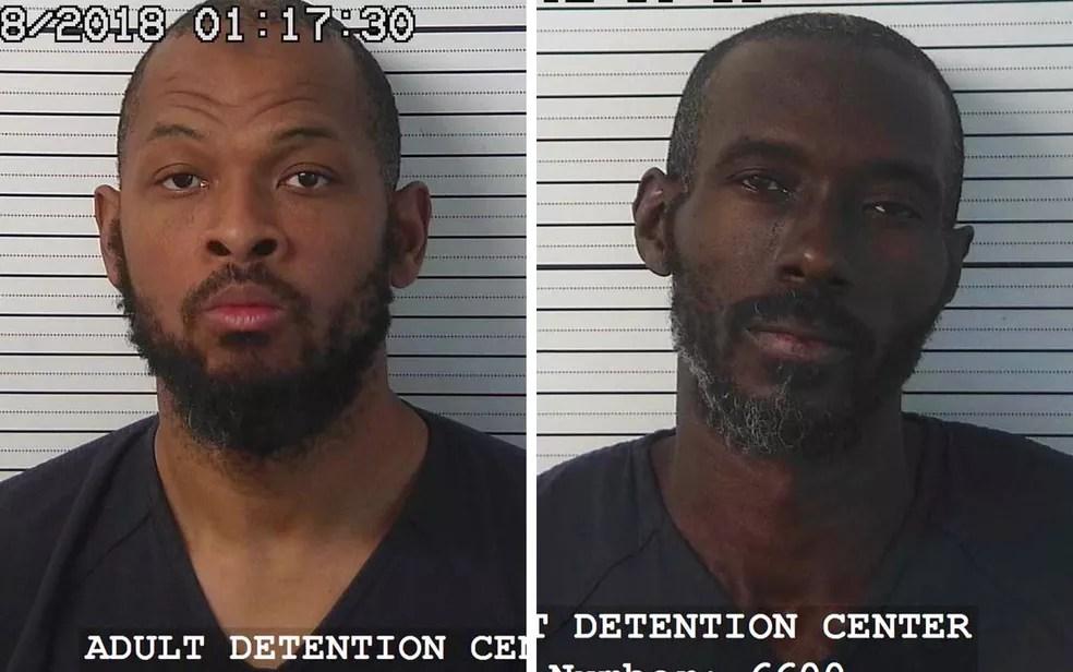 Os suspeitos detidos, Siraj Wahhaj (esq.) e Lucan Morton; Wahhaj era procurado por suspeita de ter raptado o filho de três anos (Foto: Handout/ Taos County Sheriff's Office/ AFP)