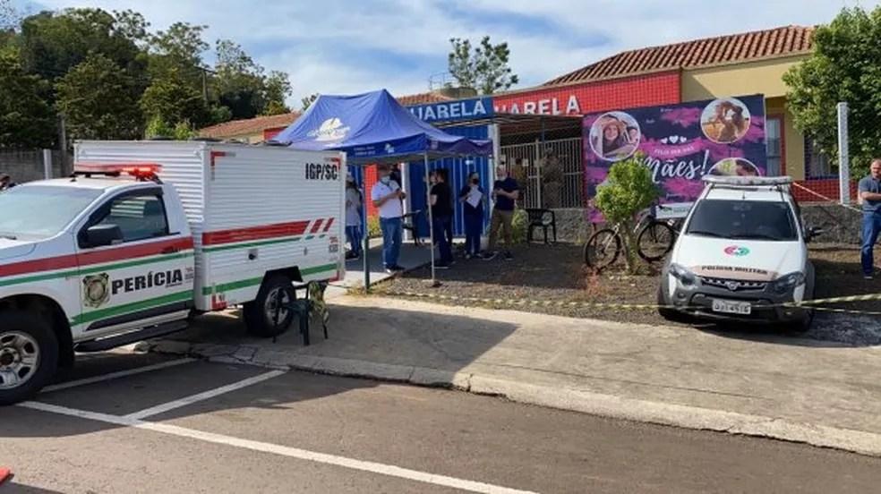 Crime ocorreu em uma creche no município de Saudades, no Oeste catarinense — Foto: Corpo de Bombeiros/ Divulgação
