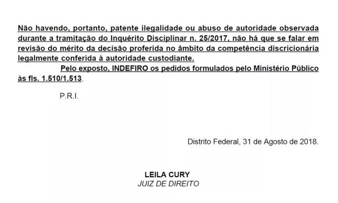 Decisão da juíza Leila Cury sobre falta disciplinar de Luiz Estevão (Foto: Reprodução)