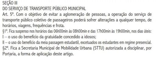 Decreto da prefeitura de Natal trata sobre transporte público — Foto: Reprodução