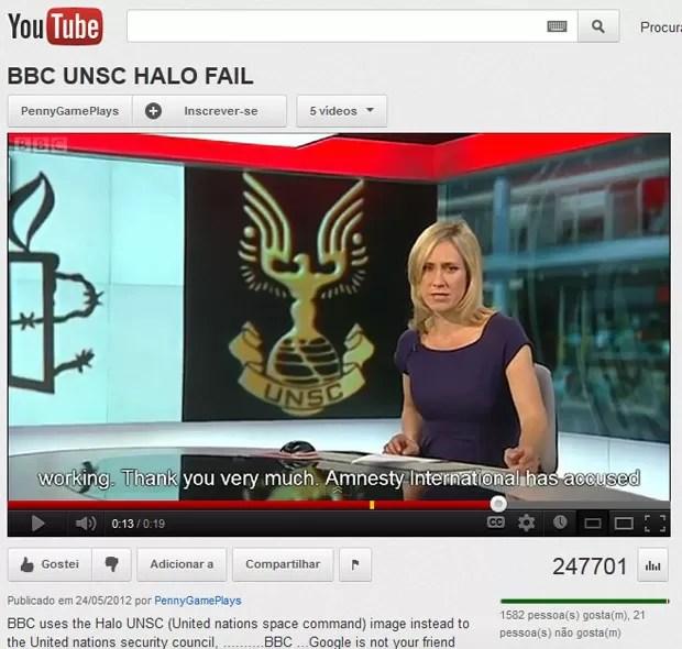 Vídeo em que a  BBC se confunde e usa logotipo de game para citar Conselho de Segurança da ONU foi parar no Youtube (Foto: Reprodução)