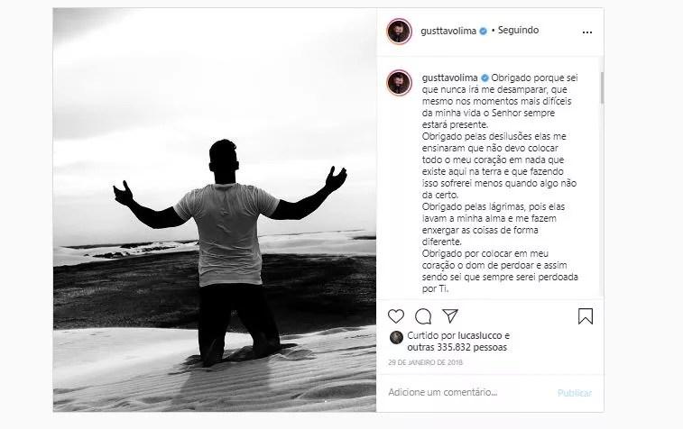 Gusttavo Lima já havia postado foto antes (Foto: Reprodução/Instagram)