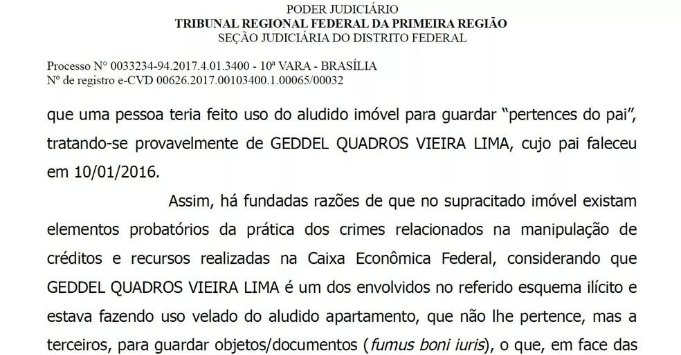 Decisão da Justiça Federal que resultou em busca e apreensão no bairro da Graça, em Salvador (Foto: Reprodução)