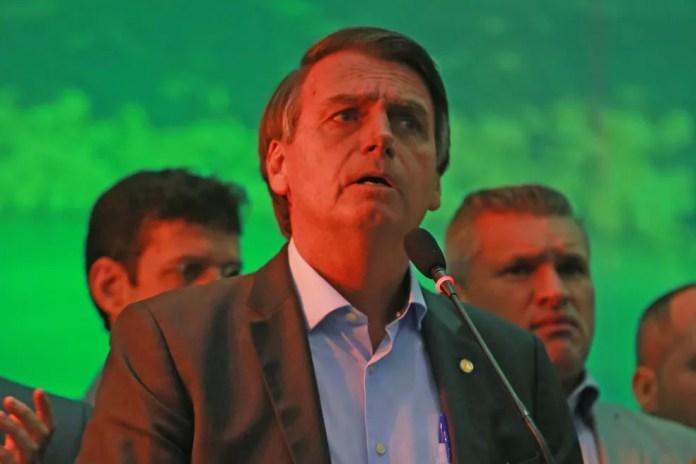 O candidato do PSL à Presidência, Jair Bolsonaro, durante a convenção do partido (Foto: Ian Cheibub/Agif/Estadão Conteúdo)