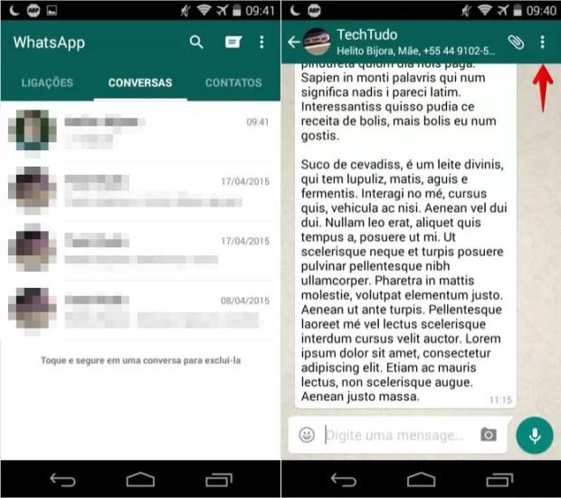 Abra o WhatsApp e acesse uma conversa