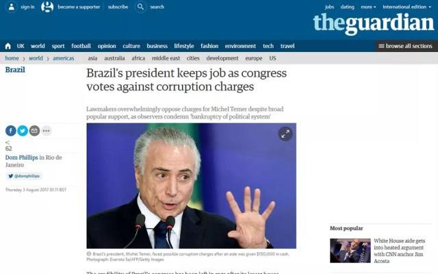 Jornal britânico 'The Guardian' também noticiou votação (Foto: Reprodução/The Guardian)