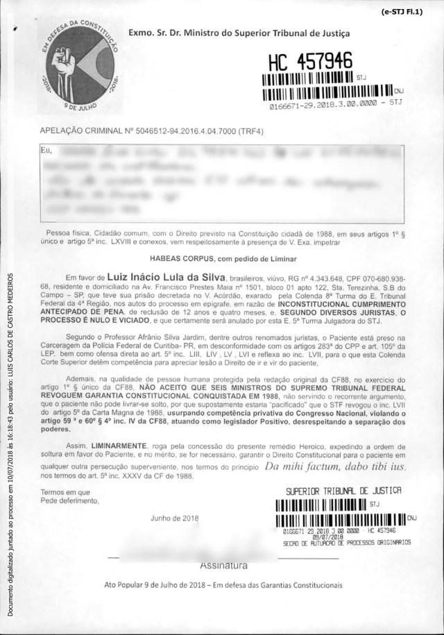 Reprodução de formulário-padrão utilizado por cidadão para impetrar habeas corpus em favor do ex-presidente Luiz Inácio Lula da Silva (Foto: Reprodução)