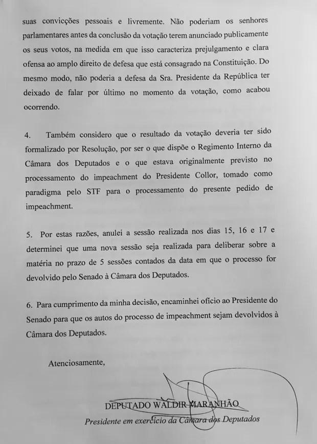 Ato do presidente em exercício da Câmara que anula a votação do processo de impeachment na Câmara (Foto: Reprodução)