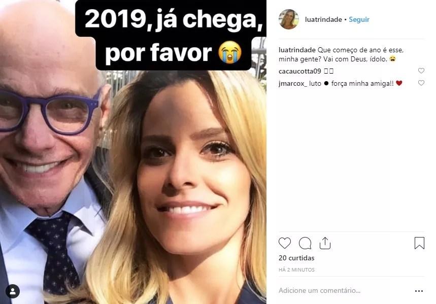 Homenagem da repórter Luana Trindade (Foto: Reprodução/Instagram)