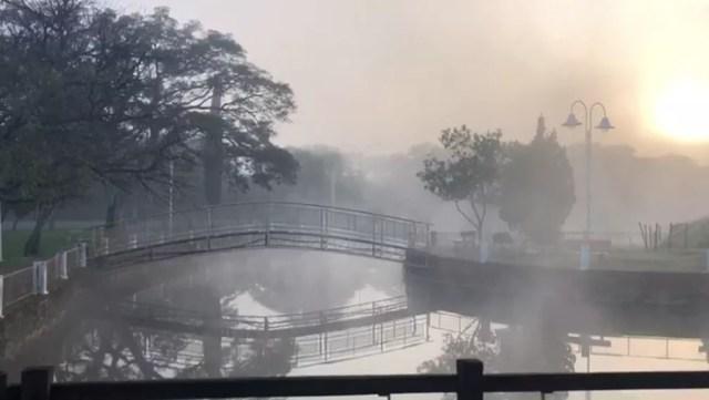 Cidade de Alegrete amanheceu gelada — Foto: Jewison Cabral/RBS TV