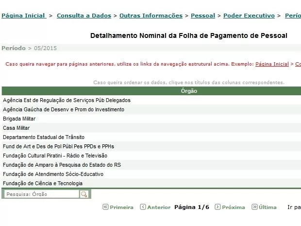 Salários de servidores do governo, de secretarias, autarquias e fundações foram divulgados no RS (Foto: Reprodução/transparencia.rs.gov.br)