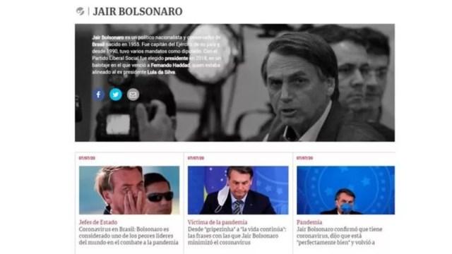 Argentino Clárin deu ampla cobertura à notícia sobre diagnóstico positivo de Bolsonaro para coronavírus — Foto: Reprodução/Clarin