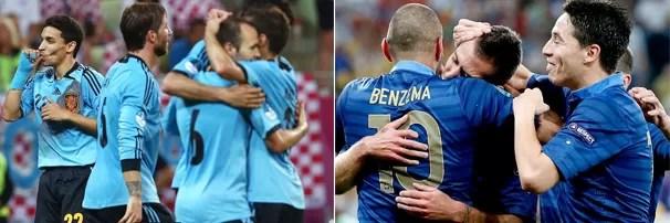 Jogadores da Espanha comemoram vitória contra a Croácia, e time da França se abraça após gol contra a Ucrânia; time se enfrentam neste sábado e a Rede Globo exibe (Foto: EFE e Reuters)