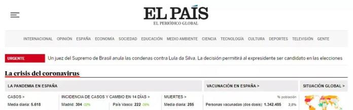 Site do espanhol'El País' noticiou anulação de condenações de Lula como urgente — Foto: Reprodução/El País