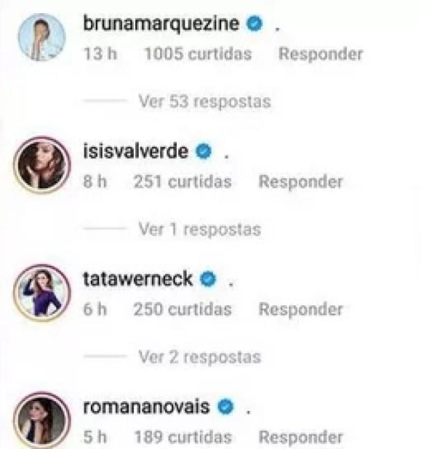 Famosas comentaram post de Yasmin (Foto: Reprodução/Instagram)