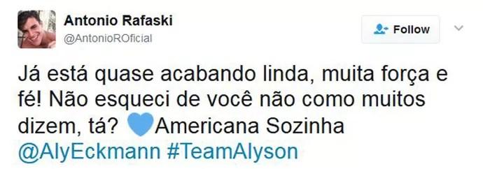 Antônio declara torcida para Alyson (Foto: Reprodução Internet)