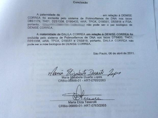 DNA apontou que Denise não era filha de Dalila (Foto: Rinaldo Rori/TV Tribuna)