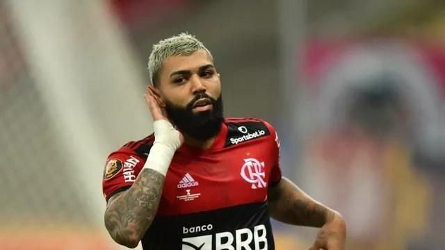 Gabigol, do Flamengo, comemora gol sobre o Fluminense