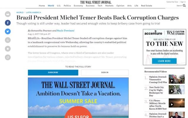 Voração também foi publicada no 'The Wall Street Journal' (Foto: Reprodução/The Wall Street Journal)
