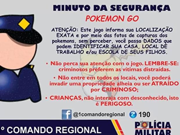 Publicação da PM alerta jogadores para riscos à segurança durante 'caçada' (Foto: Divulgação/Polícia Militar)