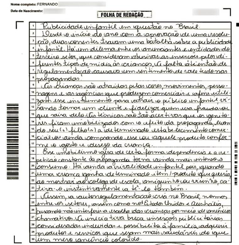 O espelho da redação do Enem, divulgado pelo Inep, é uma reprodução digital da prova de cada candidato (Foto: Reprodução)