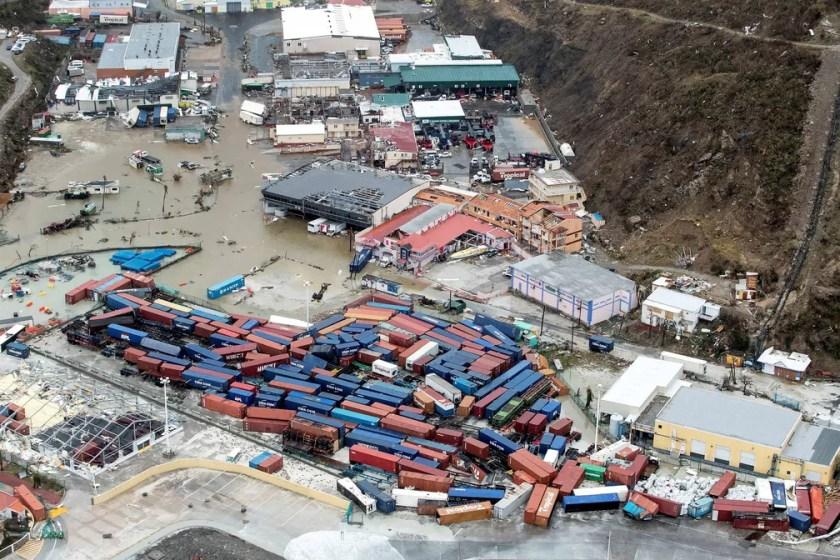 Destruição em Sint Maarten, parte holandesa na Ilha de Saint Martin, no Caribe, após passagem do Irma (Foto:  Netherlands Ministry of Defence/Handout via REUTERS )