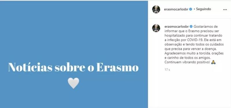 Postagem falando sobre a internação de Erasmo Carlos — Foto: Reprodução/Redes sociais