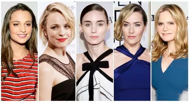 Nomeadas a melhor atriz coadjuvante do Oscar 2016: Alicia Vikander ('Ex-Machina'), Rachel McAdams ('Spotlight'), Rooney Mara ('Carol'), Kate Winslet ('Jobs') e Jennifer Jason Leigh ('Os Oito Odiados'). (Foto: Reuters)