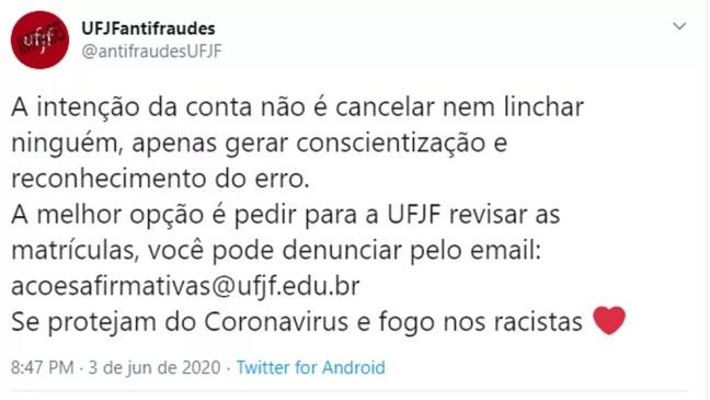 UFJF fraudes nas cotas — Foto: Reprodução/Twitter