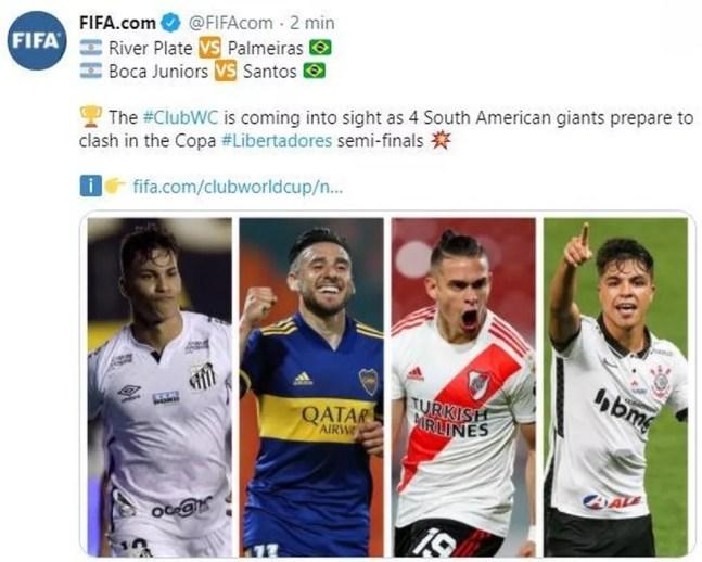 Post feito pela Fifa com jogador do Corinthians no lugar de Rony — Foto: Reprodução