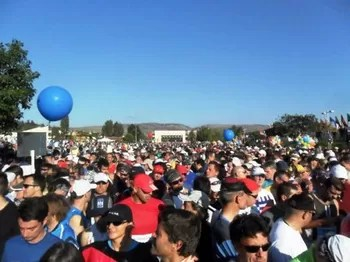A galera na largada da Maratona de Atenas (Foto: Arquivo)