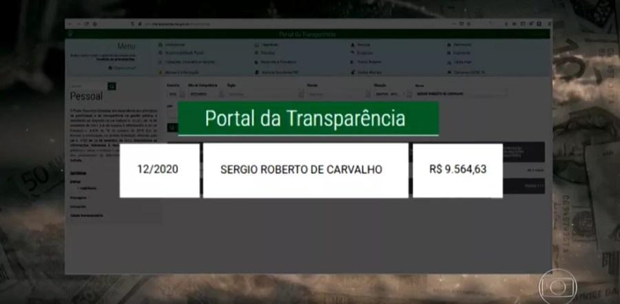 Portal da Transparência mostra pagamento de mais de R$ 9 mil de aposentadoria ao ex-major em dezembro do ano passado — Foto: TV Globo/Reprodução