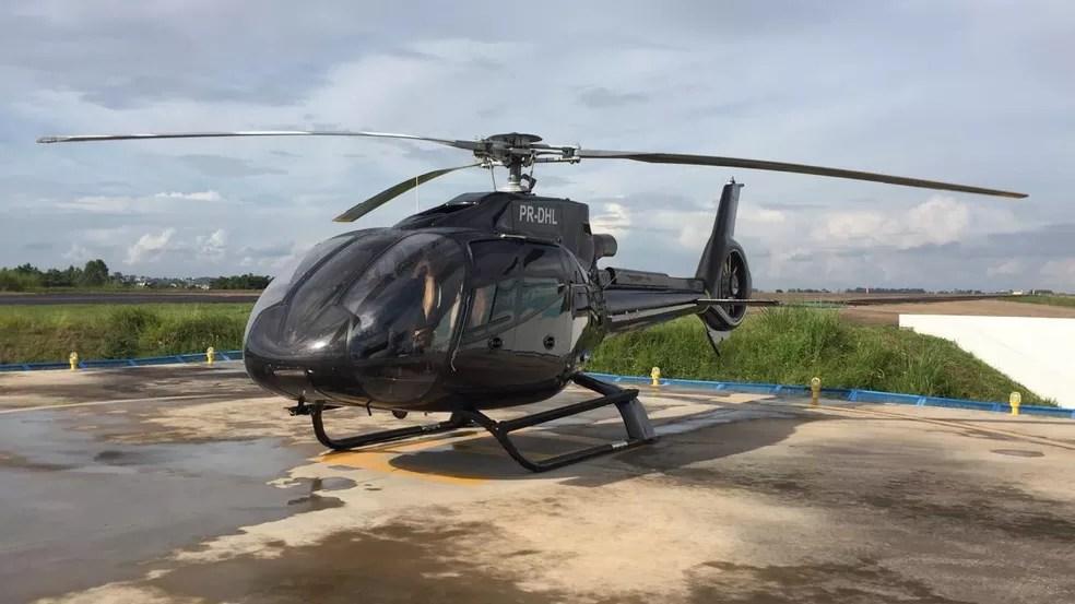 Helicóptero apreendido com cocaína em Presidente Prudente (SP) — Foto: Bruna Bachega/TV Fronteira