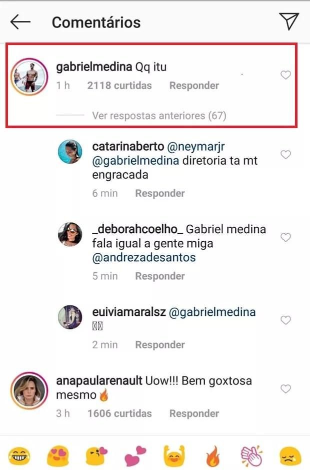 Gabriel Medina comenta foto de Anitta de biquíni (Foto: Reprodução/Instagram)