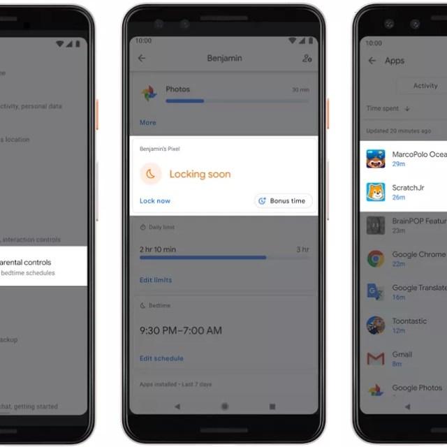 Novidades do Android Q vão permitir a pais definir tempo limite de uso de aplicativos. — Foto: Divulgação/Google