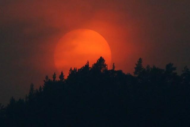 O sol se põe por trás de uma floresta da taiga siberiana no horizonte em Krasnoyarsk, na Rússia — Foto: Ilya Naymushin/Reuters