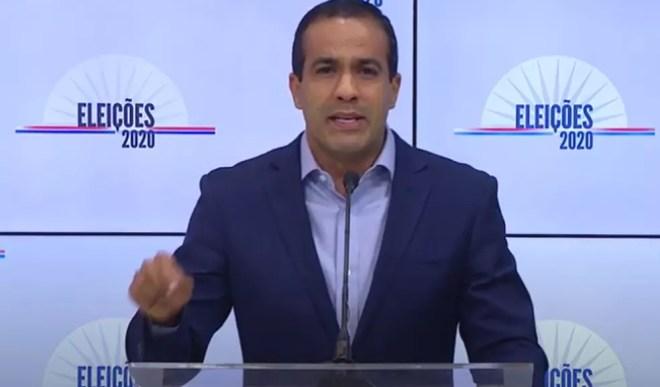 O candidato Bruno Reis (DEM) no debate da TV Educadora — Foto: Reprodução / Youtube