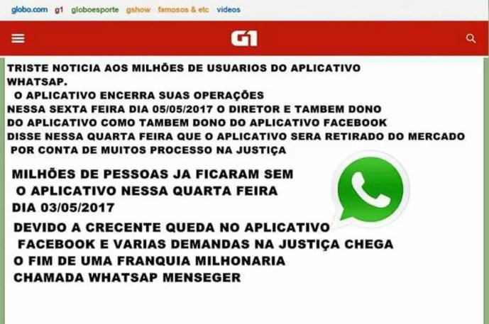 Notícia falsa sobre fim do WhatsApp é compartilhada nas redes sociais (Foto: Reprodução)