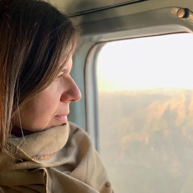 Author Simone Duarte, flying over the Swat Valley in northwestern Pakistan (Photo: Fernando Donasci)