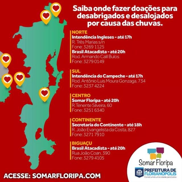 Locais de coleta de doações em Florianópolis (Foto: PMF/Divulgação)