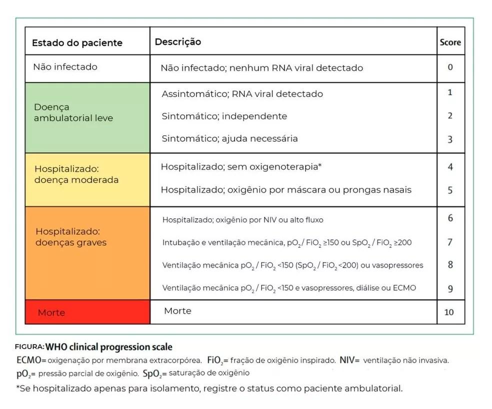 Protocolo da Organização Mundial da Saúde (OMS) que classifica os casos da doença entre os voluntários dos teste de uma vacina. — Foto: Jornal da USP