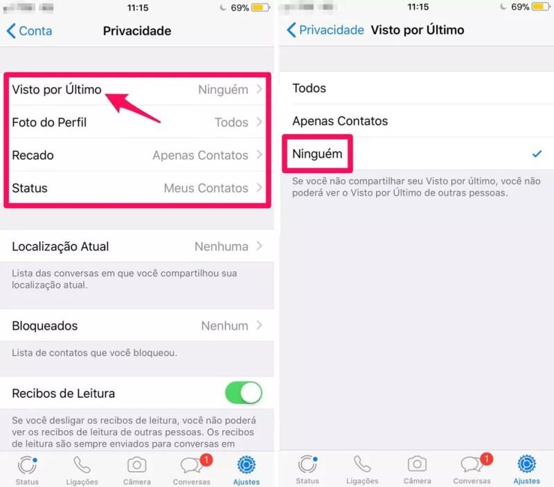 """Configure como preferir as opções de """"Privacidade"""" do WhatsApp para iPhone (Foto: Reprodução/Lucas Mendes)"""