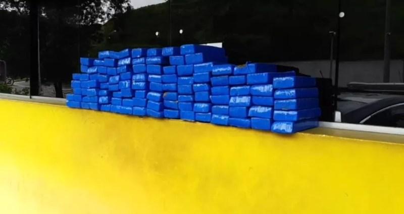 PRF apreende mais de 100 kg de maconha na BR-040, próximo a Levy Gasparian.  — Foto: Divulgação/ Policia Rodoviária Federal