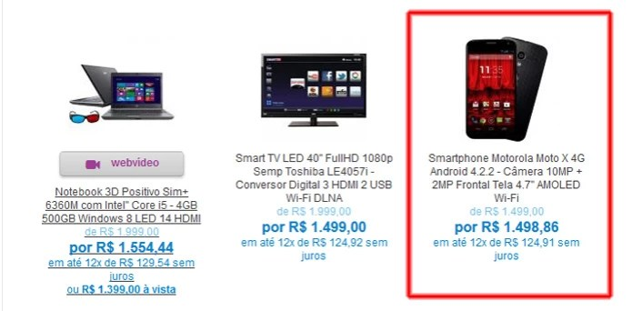 Smartphone Motorola Moto X tem desconto de R$ 0,14 na Magazine Luiza (Foto: Reprodução/Magazine Luiza)